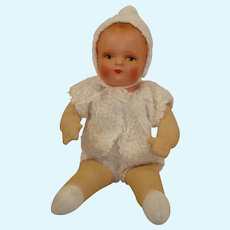 """Vintage Cloth and Paper Mache  10"""" Baby Doll"""
