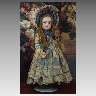 Beautiful Couture Four Piece Costume for French or German Antique Doll-Gorgeous Ecru Lace Dress, Matching Bonnet, Slip and Pantaloons ♥♥