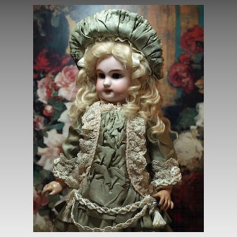Antique Cabinet Size French DEP Doll in a Fabulous Couture Dress and Bonnet ♥♥