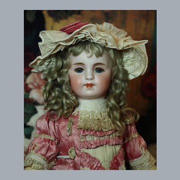 """Appealing Sonneberg 17"""" Doll Couturier Costume-Original Antique Mohair Wig ♥♥"""