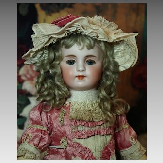 Beautiful Sonneberg Antique Doll Gorgeous Costume-Original Antique Mohair Wig ♥♥