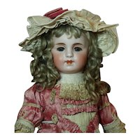 "Appealing Sonneberg 17"" Doll Couturier Costume-Original Antique Mohair Wig ♥♥"