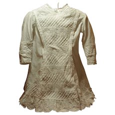 Beautiful Detailed Antique Dress-Pin Tucks-Embroidered Flowers-Scallop Intricate Hemline ♥♥