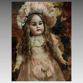Gorgeous Antique German Kestner Doll in a Silk Couture Costume ♥♥