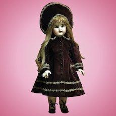 Antique Etienne Denamur Bebe with Beautiful Velvet Couture Costume ♥♥