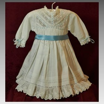Lovely Antique Dress -For French or German Doll-Pleated Bodice with Accented Lace♥♥