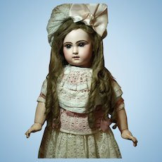 Beautiful Antique Tete Jumeau Bebe -Captivating Blue Eyes-Antique Wig-Gorgeous Dress-Original Marked Shoes♥♥