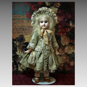 Antique Etienne Denamur Bebe with Beautiful Silk One-of-a-Kind Dress and Adorable Muff ♥♥