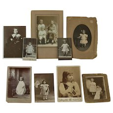 9 Lovely Antique Photographs of Children - Some Holding Antique Dolls wearing Dresses from the 1800's♥♥