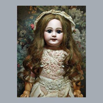 "Charming Jumeau Bebe 21"" DEP -Gorgeous Deep Blue Paperweight Eyes ♥♥"