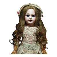 "Charming Jumeau Bebe 21"" DEP -Gorgeous Deep Blue Paperweight Eyes ♥♥"