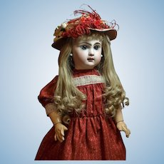 """Pretty 20"""" Jumeau Bebe -Lovely Dress with Matching Antique Hat ♥♥"""