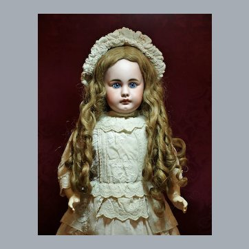 """Spectacular 25"""" Simon & Halbig 949 with Antique Human Hair Wig ♥♥"""