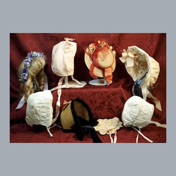 Group of Bonnets and Hats-Includes Antique-All in Good Condition ♥♥