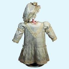 Subtle Blue Satin Dress with Matching Bonnet ♥♥