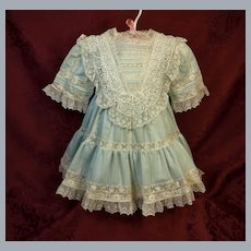 Pretty Blue Cotton Dress with Inlaid Lace  ♥♥