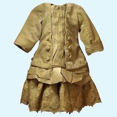 Unique Velvet and Fine Ecru Tulle Lace Dress