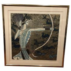 "An custom framed original serigraph of  ""Hunting Ages"" by Ting, Shao Kuang"