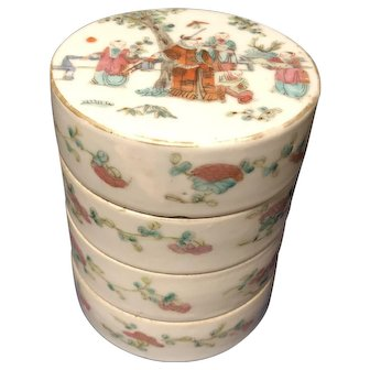 Antique Chinese Porcelain Famille Rose Stacking Box