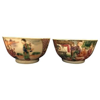 A pair of 18th Century Chinese Export Porcelain Mandarin Cup