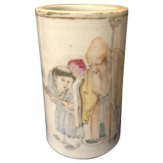 A Chinese Antique Famille Rose Brush Pot