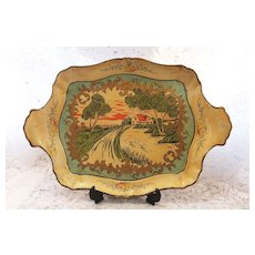 Vintage Paper Mache Tray - Idyllic Scene -  Makers Mark & Patent Number