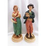 "Pair Vintage BORGHESE Figures - Peasant Boy & Girl - 10"" Tall"