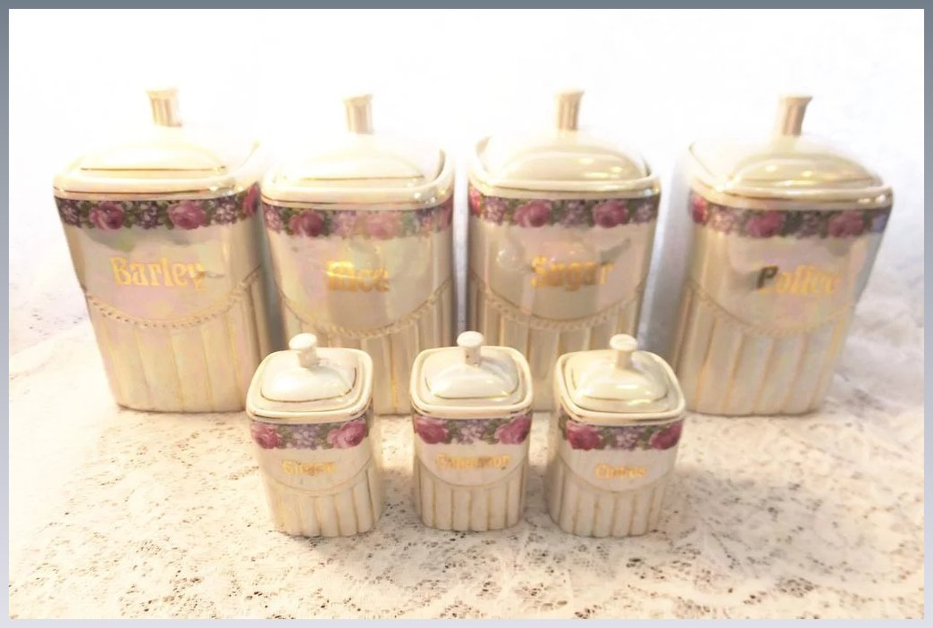vintage lusterware lustre canisters opalescent german numbered sutton house ruby lane. Black Bedroom Furniture Sets. Home Design Ideas