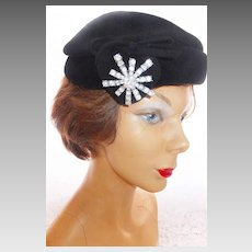 Genuine Imported Fur Hat by CHEZ ORIGINAL - Heart and Rhinestone Accents