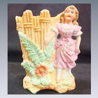 Vintage German Bisque Spill Vase Numbered - Young Girl, Fence & Large Ferns Gilt Trim