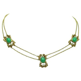 Arts & Crafts Chrysoprase Necklace