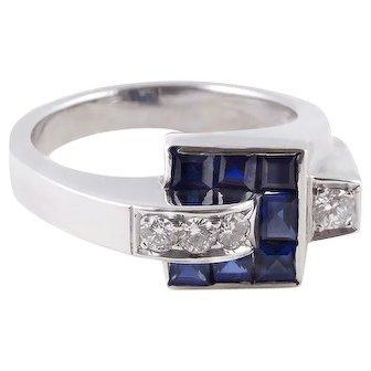 A Crackerjack of a 1930's Sapphire Diamond Platinum Ring