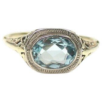 Vintage Celestial Aquamarine Filigree Ring