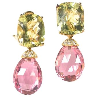 Golden Beryl Morganite Day Night Earrings