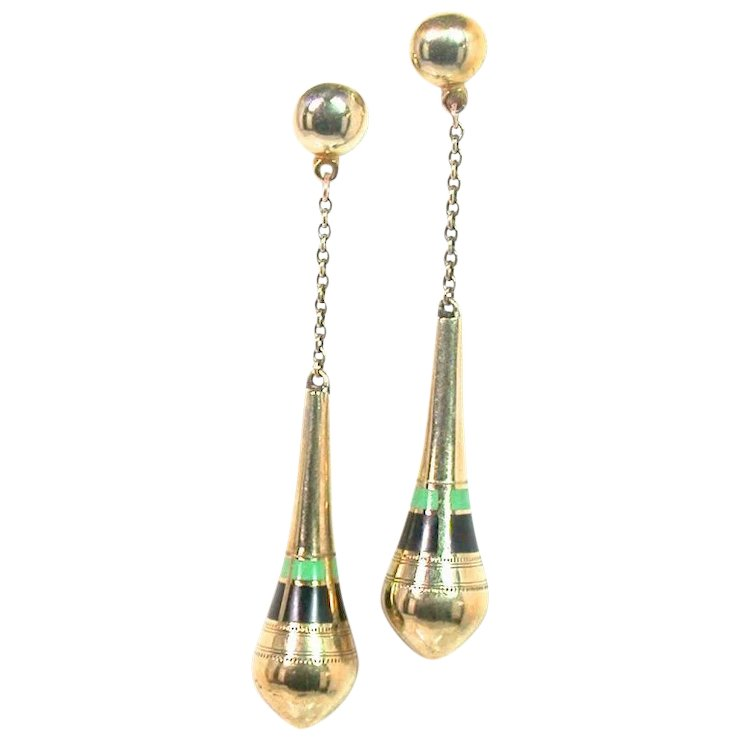 Unusual Art Deco Gold Enamel Drop Earrings
