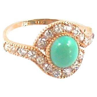 18kt Turquoise Old European Cut Diamond Ring