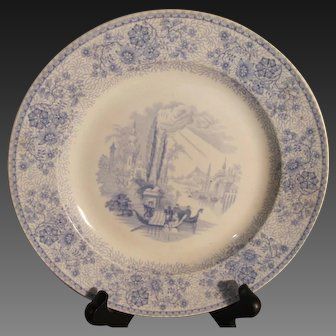 """J. Heath & Co. Blue/White Staffordshire Plate in the """"Lombardy"""" Pattern"""
