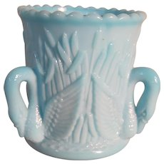 "Westmoreland Blue Milk Glass Toothpick, ""Swans & Cattails"""