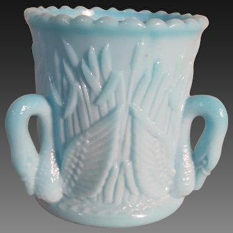 "Westmoreland Blue Milk Glass Toothpick, ""Swans & Cattails"""