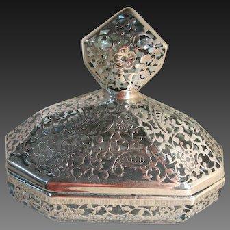 Milano Argento Vanity Powder Dish with Sterling Overlay