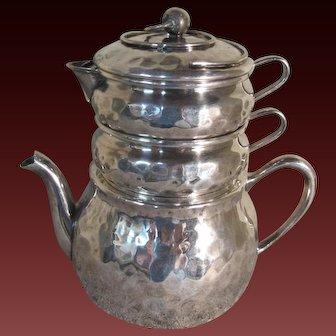 Bernard Rice's Sons, Inc. Hammered Silver Stacking Teapot, Sugar and Creamer
