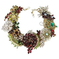 Holiday Splendor Artisan One of a Kind Statement Christmas Necklace