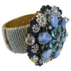 Vintage Stanley Hagler Blue Glass Beads Crystal Wide Cuff Bracelet