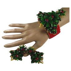 Stanley Hagler Christmas Tree Bracelet Earrings Demi Set