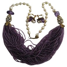 """Miriam Haskell Genuine Amethyst 48 Strand Clear Rhinestones Baroque Pearl 27"""" Necklace and Earrings"""