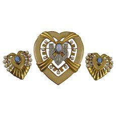 Elizabeth Taylor Heart of Hollywood Brooch and Earring Set