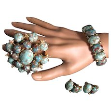 Har Dragon's Egg Parure Bracelet Brooch Earrings Faux Turquoise