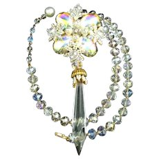 Stanley Hagler Large Mirrored Color Cabochon Crystal Prism Dangle & Clear Crystal Bead Necklace