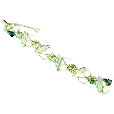 Schiaparelli Green and White Rhinestone and Moonstone Bracelet