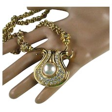"Nolan Miller Faux Pearl Large Pendant on 30"" Thick Gold Plated Chain"